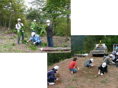 「笑顔で作業」「女性の参加者も草刈り作業」