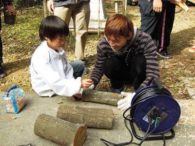 シイタケの植菌作業