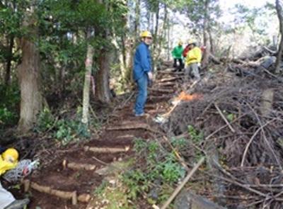 伐採した木を利用しての階段作り