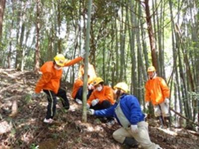 指導を受けながら伐採に挑戦中