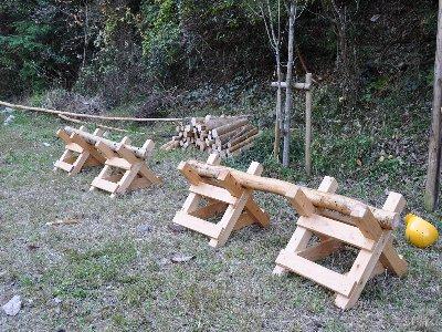搬出した薪の一部