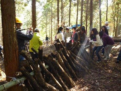 シイタケ原木の伏せ込み。来年の収穫が楽しみです!