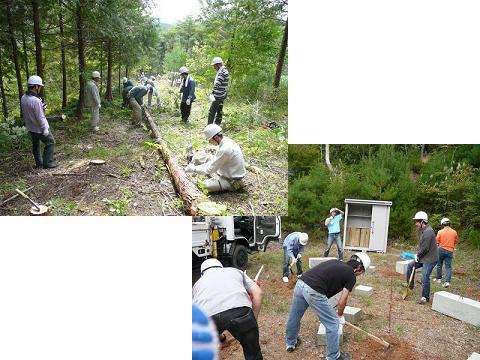 「伐採後の枝払い作業」と「休憩小屋基礎づくり作業」