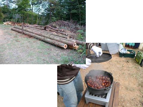 「休憩小屋の材料」と「秋の味覚の栗」